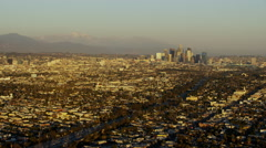 Aerial sunset view Los Angeles cityscape California USA Stock Footage