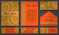 Invitation card collection. Vintage decorative elements. Hand drawn backgroun - stock illustration