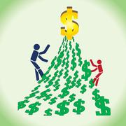 Two persons in competition to reach a big money. Stock Illustration