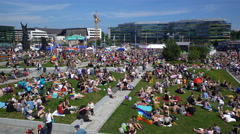 Thousands of people on the big Picnic in honor of the Helsinki Pride 2016. - stock footage
