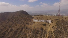 Aerial Hollywood sign California Stock Footage