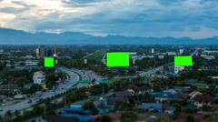 Top view of highway at night with green screen billboard_zoom_tilt-shift - stock footage