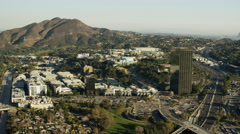 Aerial view of Warner Bros film studios in Hollywood California Stock Footage