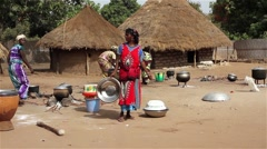 Africa group of women preparing lunch in common kitchen Stock Footage