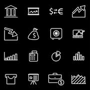 Vector line economic icon set - stock illustration