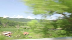 Riverside view of North Korea rural scene, from JiLin province of China. - stock footage
