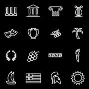 Vector line greece icon set Stock Illustration