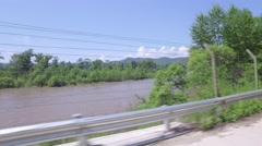 border river between China and North Korea - stock footage