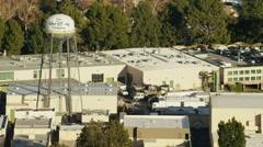 Aerial view of Walt Disney Studios Burbank California Stock Footage