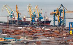 Sea commercial port at night in Mariupol, Ukraine. Industrial view. Cargo - stock photo