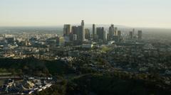 Aerial sunset view of Los Angeles Dodgers Baseball Stadium USA Stock Footage