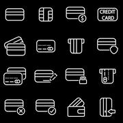Vector line credit card icon set Piirros