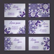 Business card collection. Vintage decorative elements. Hand drawn background. Stock Illustration