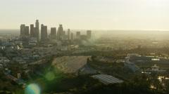 Aerial view of Dodgers Baseball Stadium Los Angeles Stock Footage
