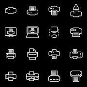 Vector line printer icon set Stock Illustration