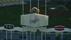 Aerial sunset view of Los Angeles Dodgers Baseball Stadium USA Stock Footage