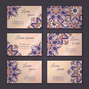 Vector vintage visiting card set. Floral mandala pattern and ornaments. Orien Stock Illustration
