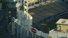 Aerial view of Elysian Park Dodgers Stadium Los Angeles Stock Footage