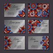 Vector vintage visiting card set. Floral mandala pattern and ornaments. Orien - stock illustration