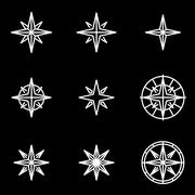 Vector line wind rose icon set - stock illustration