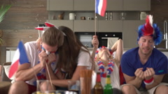 French cheering soccer fans frustrated - stock footage