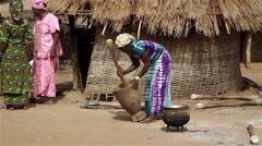 Africa woman preparing lunch Stock Footage