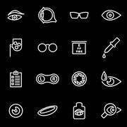 Vector line optometry icon set - stock illustration