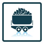 Mine coal trolley icon Stock Illustration