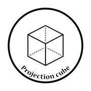 Cube with projection icon - stock illustration