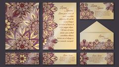Vector vintage invitation card set. Floral mandala pattern and ornaments. Ori Stock Illustration