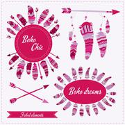 Vector illustration with tribal frame, ethnic arrows and feathers. Boho style Stock Illustration