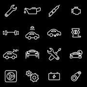 Vector line car service icon set - stock illustration