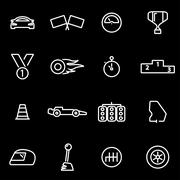Vector line racing icon set Piirros