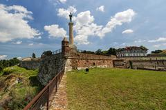 Belgrade fortress and victor monument Stock Photos