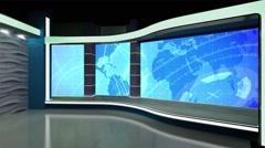 News TV Studio Set 182- Virtual Green Screen Background Loop Stock Footage