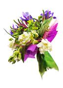 Bouquet of tulips, iris, veronica and other flowers. Stock Photos