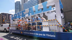 Ontario Lottery and Gaming float at 2016 Pride Parade in Toronto. - stock footage