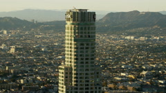 Aerial sunset view in close up of US Bank downtown Los Angeles Stock Footage