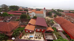 Aerial Catholic Cathedral of Guinea Bisseau - Cathedral of Lady Candelaria Stock Footage