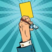 yellow card warning business concept - stock illustration