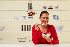 Strawberries cream snack health healthy diet  weight loss yogurt attractive Kuvituskuvat