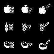 Vector white genetically modyfied food icon set - stock illustration