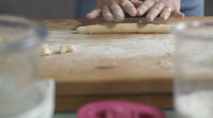 "Skillful hands preparing ""gnocchi"" typical Italian pasta  Stock Footage"
