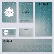 Set of modern templates for brochure, flyer, visit cards and banner. Structure - stock illustration
