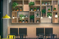 Cafe Interior Wall Design Stock Photos