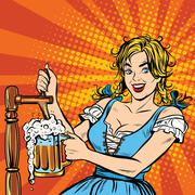 Young blond woman pours a beer, Germany national costume - stock illustration