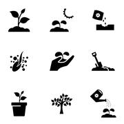 Vector black growing icon set Stock Illustration