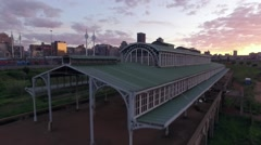 Aerial shot of Historic Park Station Building at sunrise Stock Footage