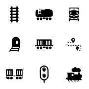 Vector black railroad icon set Stock Illustration