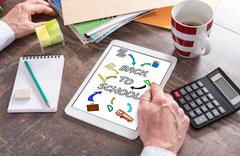 Concept of back to school on a tablet - stock photo